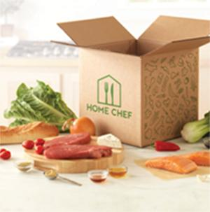 Home Chef box with food displayed