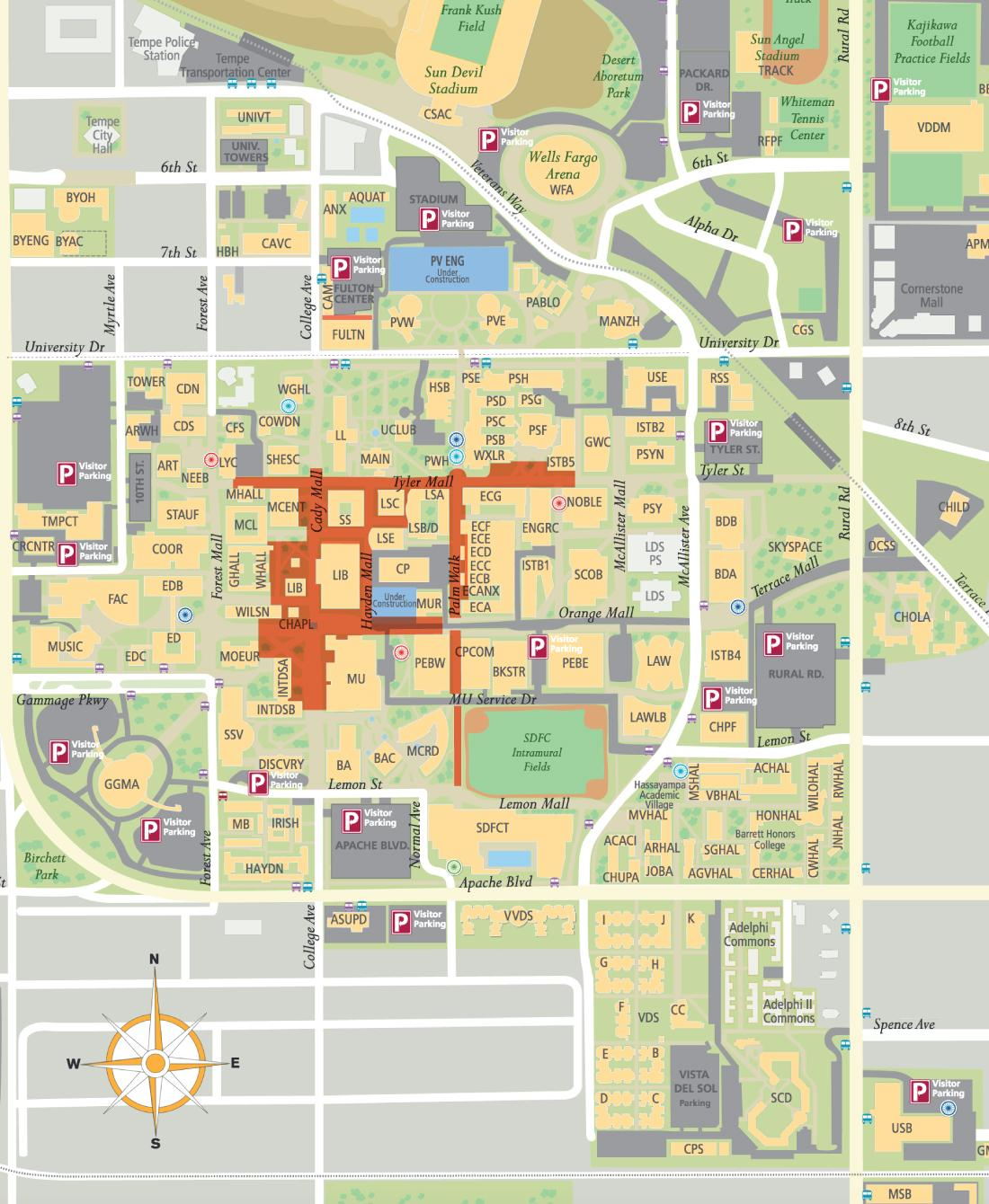 Tempe Dining Locations Map | Sun Devil Dining